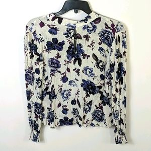 ASTR Floral Keyhole Tie Back Top Small